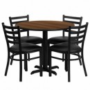 36'' Round Walnut Laminate Table Set with with X Base 4 Ladder Back Metal Chairs - Black Vinyl Seat