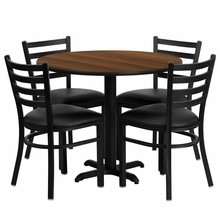 Flash Furniture HDBF1032-GG 36'' Round Walnut Laminate Table Set with 4 Ladder Back Metal Chairs Black Vinyl Seat