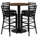 "Flash Furniture MD-0011-GG 36"" Round Walnut Laminate Table Set with 4 Ladder Back Metal Bar Stools, Black Vinyl Seat"