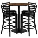Flash Furniture MD-0011-GG 36'' Round Walnut Laminate Table Set with 4 Ladder Back Metal Bar Stools, Black Vinyl Seat