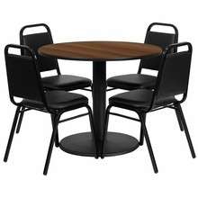 36'' Round Walnut Laminate Table Set with Round Base with 4 Black Trapezoidal Back Banquet Chairs