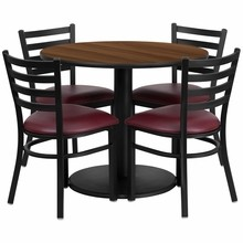 36'' Round Walnut Laminate Table Set with Round Base with 4 Ladder Back Metal Chairs - Burgundy Vinyl Seat