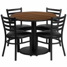 36'' Round Walnut Laminate Table Set with Round Base with 4 Ladder Back Metal Chairs - Black Vinyl Seat
