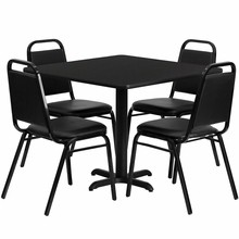 Flash Furniture HDBF1009-GG 36'' Square Black Laminate Table Set with 4 Black Trapezoidal Back Banquet Chair