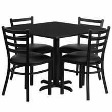 Flash Furniture HDBF1013-GG 36'' Square Black Laminate Table Set with 4 Ladder Back Metal Chair Black Vinyl Seat