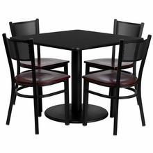Flash Furniture MD-0008-GG 36'' Square Black Laminate Table Set with 4 Grid Back Metal Chairs, Mahogany Wood Seat