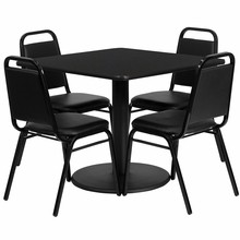 36'' Square Black Laminate Table Set with Round Base with 4 Black Trapezoidal Back Banquet Chairs