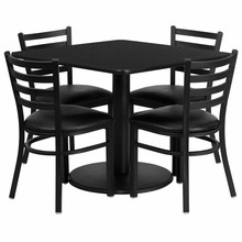 36'' Square Black Laminate Table Set with Round Base with 4 Ladder Back Metal Chairs - Black Vinyl Seat