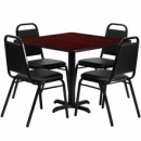 36'' Square Mahogany Laminate Table Set with X Base with 4 Black Trapezoidal Back Banquet Chairs