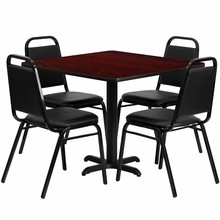 Flash Furniture HDBF1010-GG 36'' Square Mahogany Laminate Table Set with 4 Black Trapezoidal Back Banquet Chair