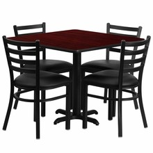 36'' Square Mahogany Laminate Table Set with Round Base with X Base with 4 Ladder Back Metal Chairs - Black Vinyl Seat