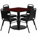 36'' Square Mahogany Laminate Table Set with Round Base with 4 Black Trapezoidal Back Banquet Chairs