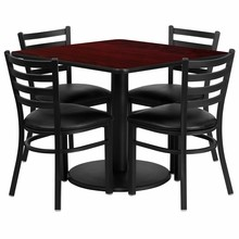 Flash Furniture RSRB1014-GG 36'' Square Mahogany Laminate Table Set with Round Base with 4 Ladder Back Metal Chairs, Black Vinyl Seat