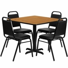 36'' Square Natural Laminate Table Set with Round Base with X Base with 4 Black Trapezoidal Back Banquet Chairs
