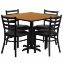 36'' Square Natural Laminate Table Set with X Base with 4 Ladder Back Metal Chairs - Black Vinyl Seat
