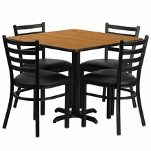 Flash Furniture HDBF1015-GG 36'' Square Natural Laminate Table Set with 4 Ladder Back Metal Chair Black Vinyl Seat