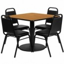 36'' Square Natural Laminate Table Set with Round Base with 4 Black Trapezoidal Back Banquet Chairs