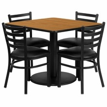 36'' Square Natural Laminate Table Set with Round Base with 4 Ladder Back Metal Chairs - Black Vinyl Seat