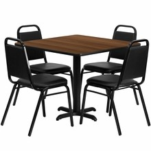 36'' Square Walnut Laminate Table Set with with X Base 4 Black Trapezoidal Back Banquet Chairs