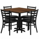 36'' Square Walnut Laminate Table Set  with Round Basewith X Base with 4 Ladder Back Metal Chairs - Black Vinyl Seat