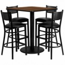 Flash Furniture MD-0015-GG 36'' Square Walnut Laminate Table Set with 4 Grid Back Metal Bar Stools, Black Vinyl Seat