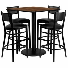 Flash Furniture MD-0015-GG 36'' Square Walnut Laminate Table Set with 4 Grid Back Metal Bar Stools, Black Vinyl Seat