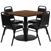 36'' Square Walnut Laminate Table Set  with Round Basewith 4 Black Trapezoidal Back Banquet Chairs