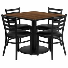36'' Square Walnut Laminate Table Set  with Round Base with 4 Ladder Back Metal Chairs - Black Vinyl Seat
