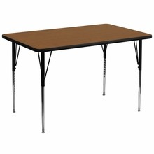 Flash Furniture XU-A3672-REC-OAK-H-A-GG 36''W x 72''L Rectangular Activity Table with 1.25'' Thick High Pressure Oak Laminate Top and Standard Height Adjustable Legs