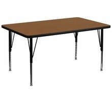 36''W x 72''L Rectangular Activity Table with 1.25'' Thick High Pressure Oak Laminate Top and Height Adjustable Pre-School Legs