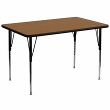 Flash Furniture XU-A3672-REC-OAK-T-A-GG 36''W x 72''L Rectangular Activity Table with Oak Thermal Fused Laminate Top and Standard Height Adjustable Legs