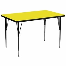 Flash Furniture XU-A3672-REC-YEL-H-A-GG 36''W x 72''L Rectangular Activity Table with 1.25'' Thick High Pressure Yellow Laminate Top and Standard Height Adjustable Legs