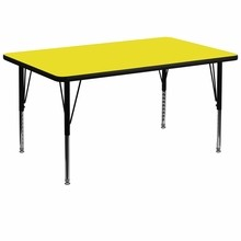 "Flash Furniture XU-A3672-REC-YEL-H-P-GG 36""W x 72""L Rectangular Activity Table with 1.25"" Thick High Pressure Yellow Laminate Top and Height Adjustable Preschool Legs"