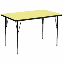 Flash Furniture XU-A3672-REC-YEL-T-A-GG 36''W x 72''L Rectangular Activity Table with Yellow Thermal Fused Laminate Top and Standard Height Adjustable Legs