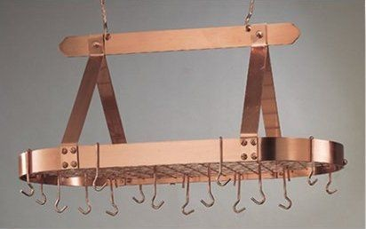"Old Dutch International 107CP Oval Satin Copper Pot Rack with Grid, 16 Hooks, 36"" x 19 "" x 15 1/2"""