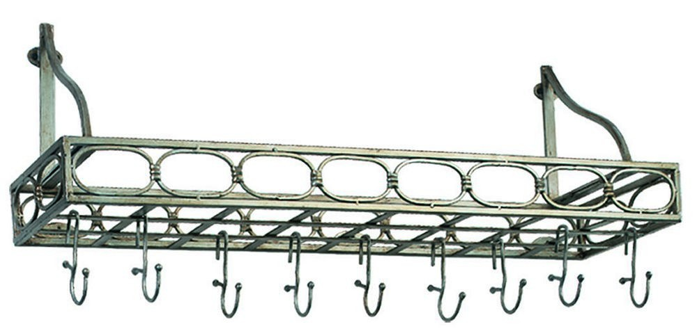 "Old Dutch International 103PW Antique Pewter Bookshelf Pot Rack, 8 Hooks, 36"" x 9"" x 11 3/4"""