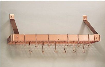 "Old Dutch 104CP Satin Copper Bookshelf Rack with Grid, 12 Hooks, 36 1/4"" x 9"" x 11 1/2"""