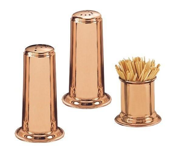 Old Dutch International 937 Solid Copper Salt & Pepper Set with Toothpick Holder