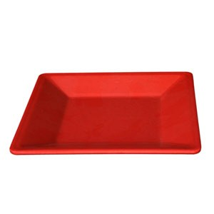 "Thunder Group PS3204RD Passion Red Melamine Square Plate 4"" x 4"""