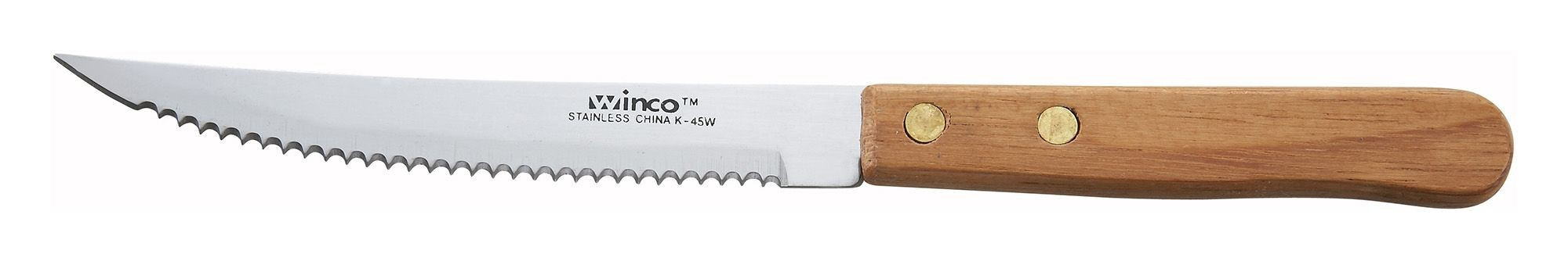 """Winco K-45W Pointed Steak Knife with Wood Handle 4-1/2"""""""