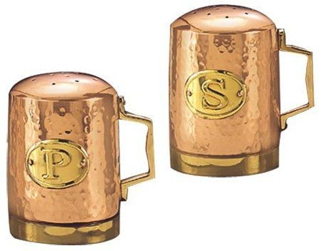 Old Dutch 833 Decor Copper Hammered Stovetop Salt & Pepper Set