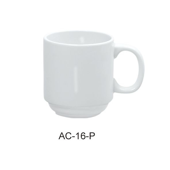 "Yanco AC-16-P Abco 4 1/4"" X3 3/4"" Stackable Prime Mug 16 oz."