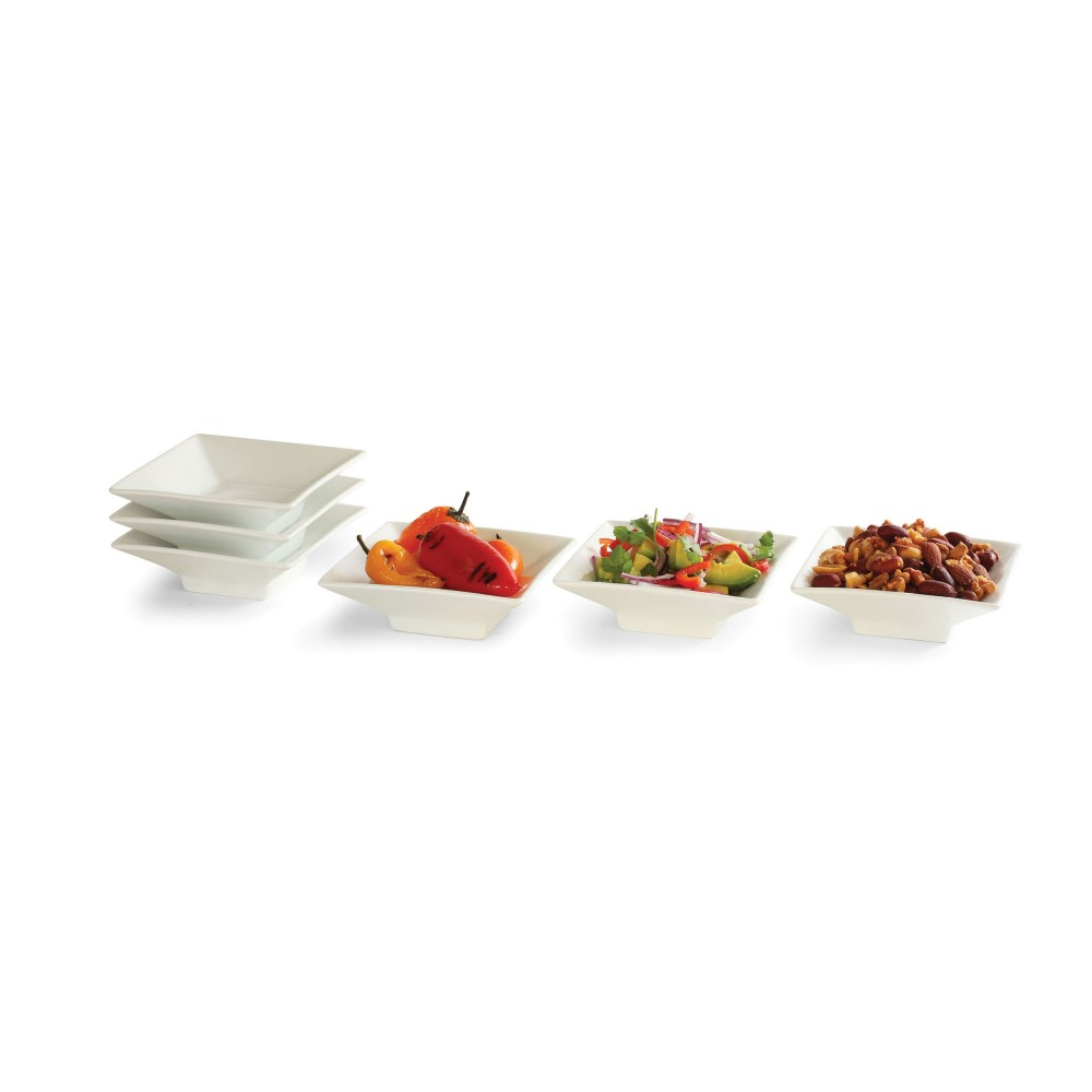 "Rosseto CP003 4.5"" Square Porcelain Bowl, 6 Pieces"