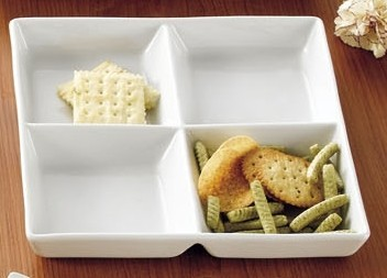 CAC China CMP-D10 Square 4-Compartment Tray 10""