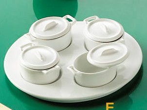 "CAC China PT-B4 Gourmet Collection 8-1/4"" Tray with 4-Oval Jars with Lids Set"
