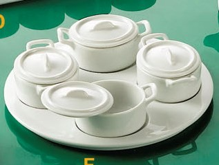 "CAC China PT-B5 Gourmet Collection 0-1/2"" Tray with 4-Oval Jars with Lids Set"