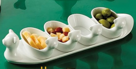 "CAC China PTA-4-S Gourmet Bright White Porcelain 13 3/4"" Cute Tray with 4 Bowls"