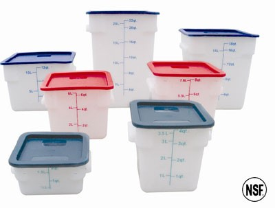 Thunder Group PLSFT004PP White Plastic Square Food Storage Container 4 Qt.