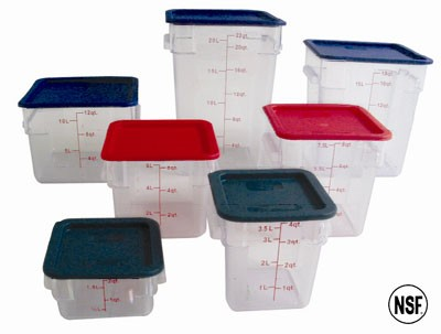 4 Qt Polycarbonate Square Food Storage Containers Clear