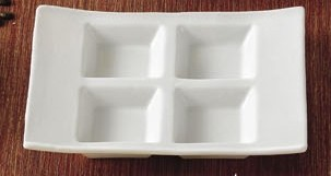 "CAC China CN-4T8 4-Compartment Rectangular Tasting Tray 8"" x 6"""